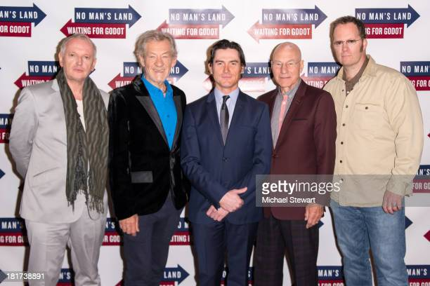 Director Sean Mathias with actors Sir Ian McKellen Billy Crudup Sir Patrick Stewart and Shuler Hensley attend No Man's Land and Waiting For Godot...