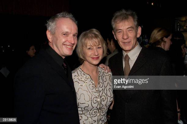 Director Sean Mathias with costars Helen Mirren and Ian McKellen at the opening night party for Dance Of Death at the Bryant Park Grill in New york...