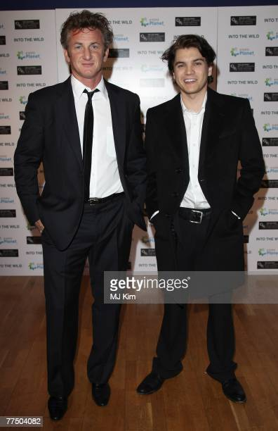 Director Sean Penn and actor Emile Hirsch arrive at the BFI 51st London Film Festival 'Into The Wild' premiere at the The Odeon Cinema Leicester...