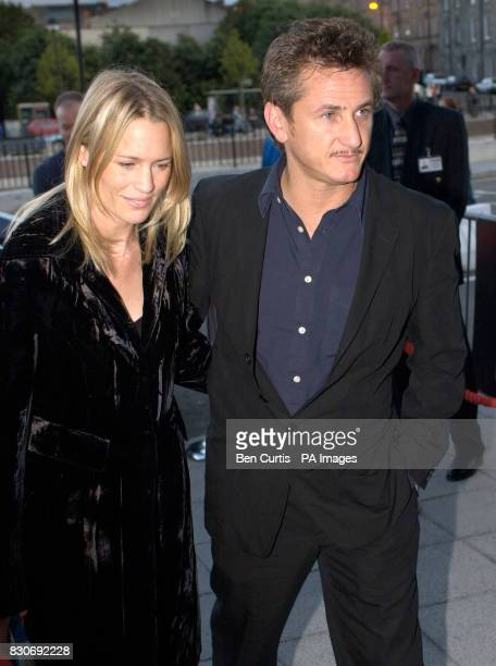 Director Sean Penn and his actress wife Robin WrightPenn arrive for the premiere of his latest film 'The Pledge' at the Edinburgh Film Festival