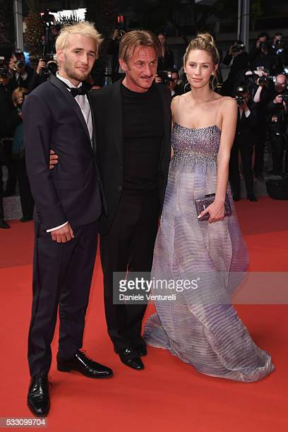 Director Sean Penn his son Hopper Penn and daughter Dylan Penn leave The Last Face Premiere during the 69th annual Cannes Film Festival at the Palais...