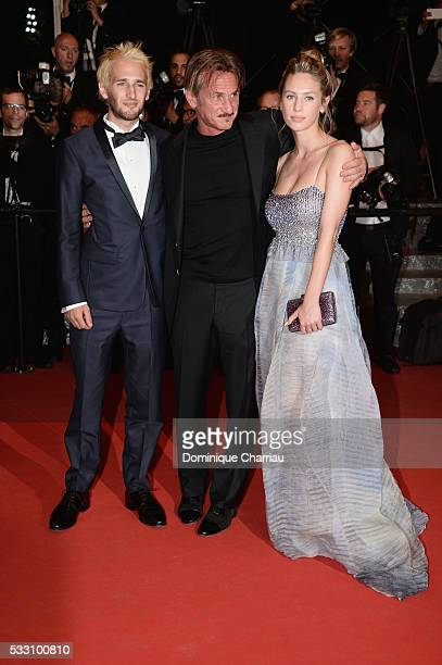 Director Sean Penn his son Hopper Penn and daughter Dylan Penn leave 'The Last Face' Premiere during the 69th annual Cannes Film Festival at the...
