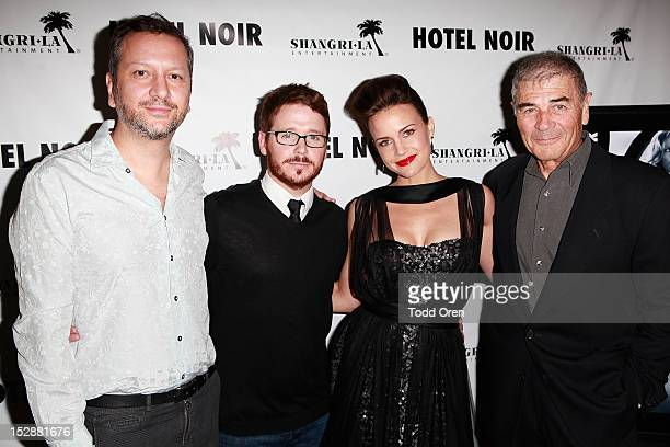 Director Sebastian Gutierrez, actor Kevin Connolly, actress Carla Gugino and actor Robert Forster pose at the screening of Hotel Noir at Soho House...