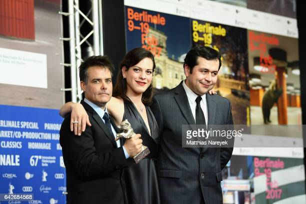 Director Sebastian Lelio actress Daniela Vega and screenwriter Gonzalo Maza winners of the Silver bear for best screenplay for their movie attend the...