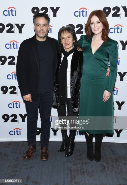 Director Sebastian Lelio Annette Insdorf and Julianne Moore attend 'Gloria Bell' Screening Conversation at 92nd Street Y on March 05 2019 in New York...