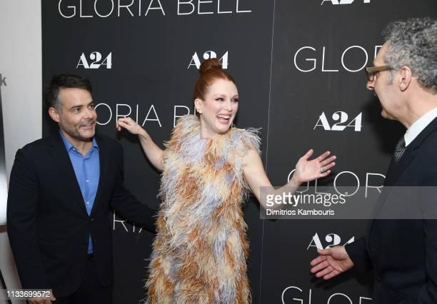 Director Sebastian Lelio Julianne Moore and John Turturro attend 'Gloria Bell' New York Screening at Museum of Modern Art on March 04 2019 in New...