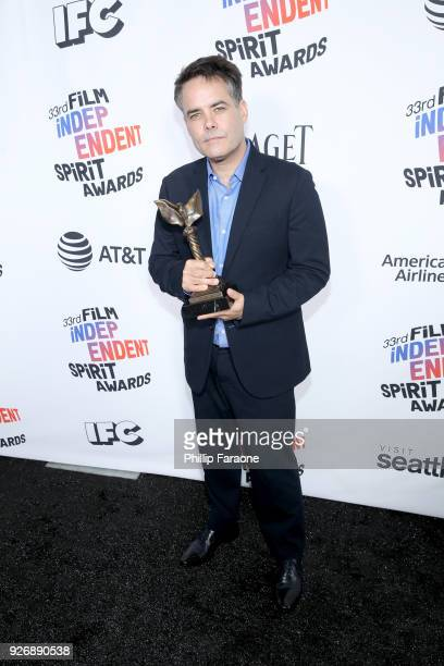 Director Sebastian Lelio winner of Best International Film for 'A Fantastic Woman' poses in the press room during the 2018 Film Independent Spirit...