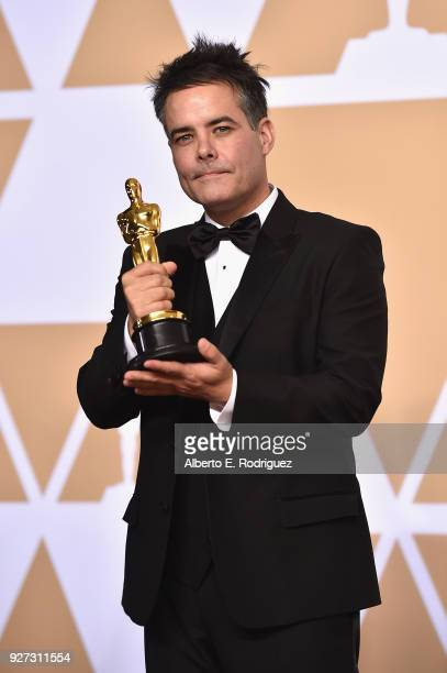 Director Sebastian Lelio winner of the Best Foreign Language Film award for 'A Fantastic Woman' poses in the press room during the 90th Annual...