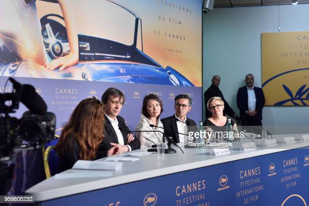 Director Sergey Dvortsevoy actress Samal Yeslyamova producers Thanassis Karathanos and Anna Wydra attend 'Ayka ' Press Conference during the 71st...