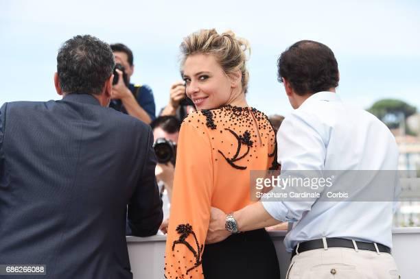 Director Sergio Castellitto and actors Jasmine Trinca Stefano Accorsi attend 'Fortunata' photocall during the 70th annual Cannes Film Festival at...