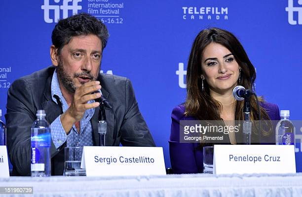Director Sergio Castellitto and Actress Penélope Cruz speak onstage at the 'Twice Born' Press Conference during the 2012 Toronto International Film...