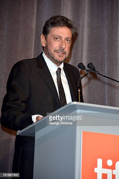 Director Sergio Castellitto speaks at the 'Twice Born' premiere during the 2012 Toronto International Film Festival at Roy Thomson Hall on September...