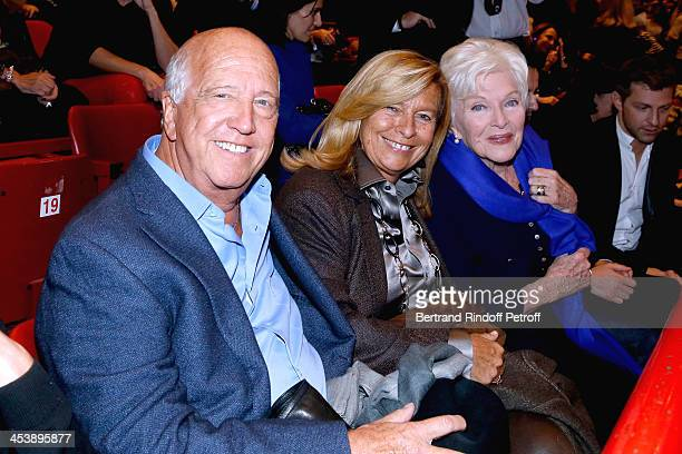 Director Sergio Gobbi with his wife Corinne Bouygues and singer Line Renaud attending Celine Dion's Concert at Palais Omnisports de Bercy on December...