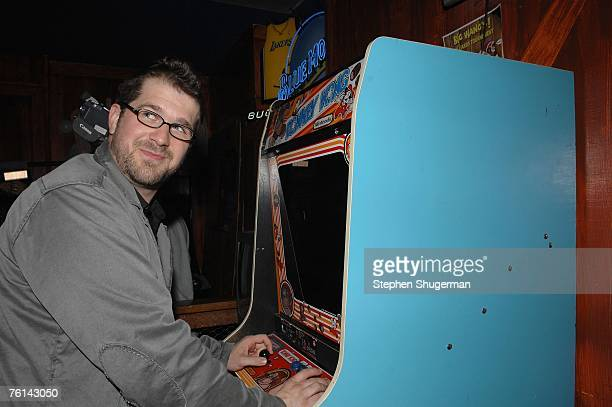 Director Seth Gordon plays Donkey Kong at the after party following the Los Angeles premiere of Picturehouse's 'The King Of Kong A Fistful Of...
