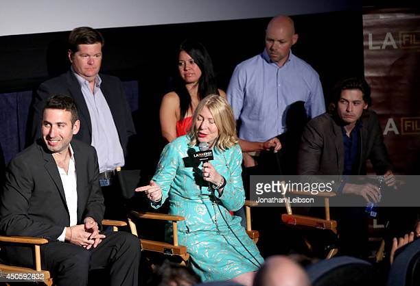 Director Seth Grossman actor Brian Flaherty producer Robin Schorr and actor Morgan McClellan attend the premiere of Inner Demons during the 2014 Los...