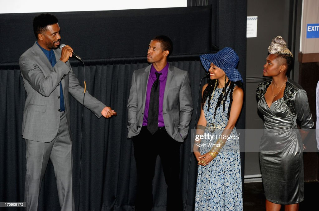 Director Shaka King, actors Amari Cheatom and Trae Harris and costume designer Charlese Antoinette Jones attend 'Newlyweeds' premiere during NEXT WEEKEND, presented by Sundance Institute at Sundance Sunset Cinema on August 10, 2013 in Los Angeles, California.