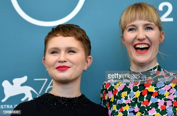 Director Shannon Murphy poses with Australian actress Eliza Scanlen during a photocall for her movie Babyteeth presented on September 4 2019 in...