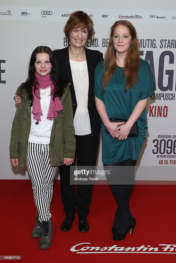 Director Sherry Hormann (C) with Leonie Benesch (R) and Lea attend the '3096 Tage' Berlin Premiere at CineStar on February 27, 2013 in Berlin, Germany.