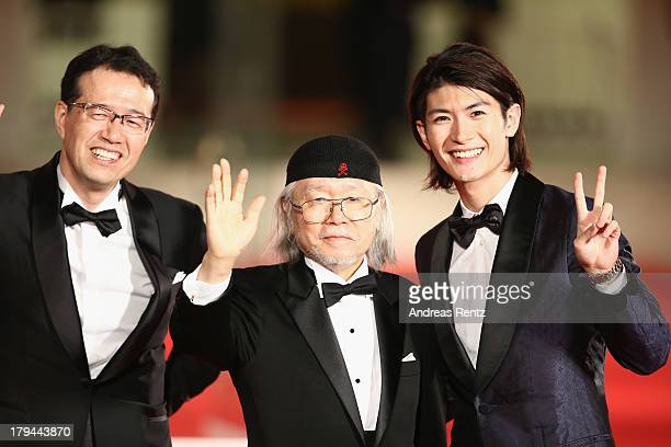 Director Shinji Aramaki Leiji Matsumoto and actor Haruma Miura attend the 'Harlock Space Pirate' Premiere at the 70th Venice International Film...
