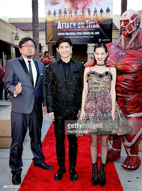 Director Shinji Higuchi actors Haruma Miura and Kiko Mizuhara attend the ATTACK ON TITAN World Premiere on July 14 2015 in Hollywood California
