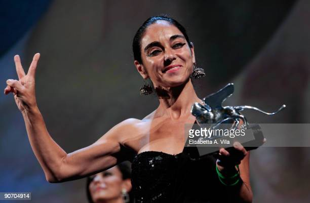 Director Shirin Neshat poses with her Best Director award while attending the Closing Ceremony at The Sala Grande during the 66th Venice Film...