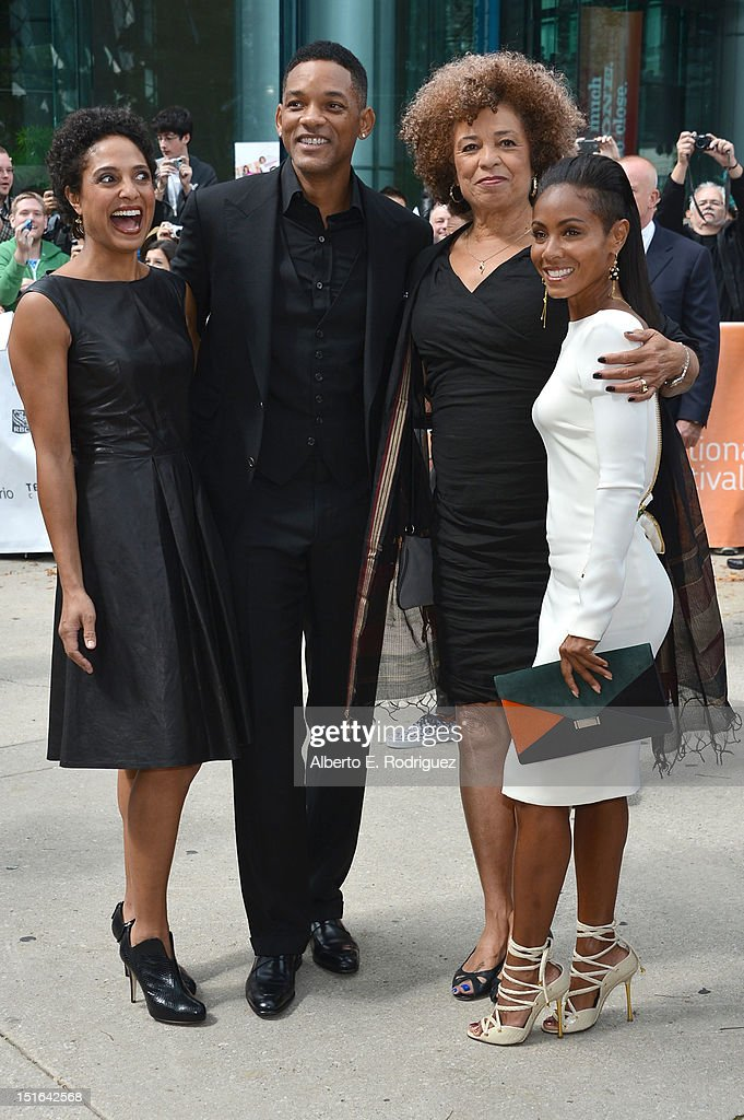 Director Shola Lynch, producer Will Smith, Angela Davis and actor Jada Pinkett Smith attend the 'Free Angela & All Political Prisoners' premiere during the 2012 Toronto International Film Festival at Roy Thomson Hall on September 9, 2012 in Toronto, Canada.