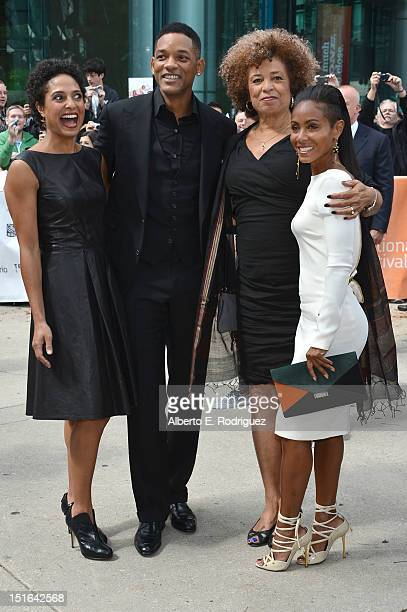 Director Shola Lynch producer Will Smith Angela Davis and actor Jada Pinkett Smith attend the Free Angela All Political Prisoners premiere during the...