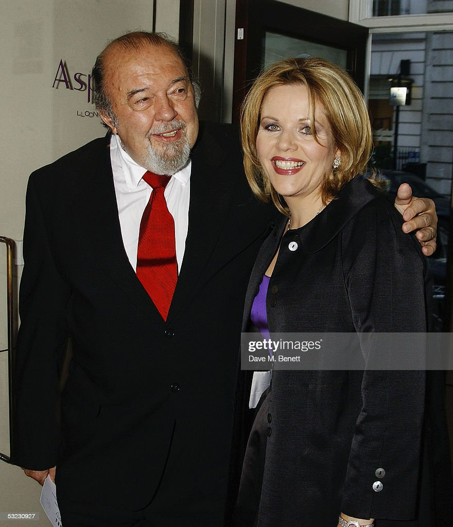 Director Sir Peter Hall and Renee Fleming attend Fleming's private Asprey dinner party at Asprey's flagship store in Bond Street July 12, 2005 in London, England.