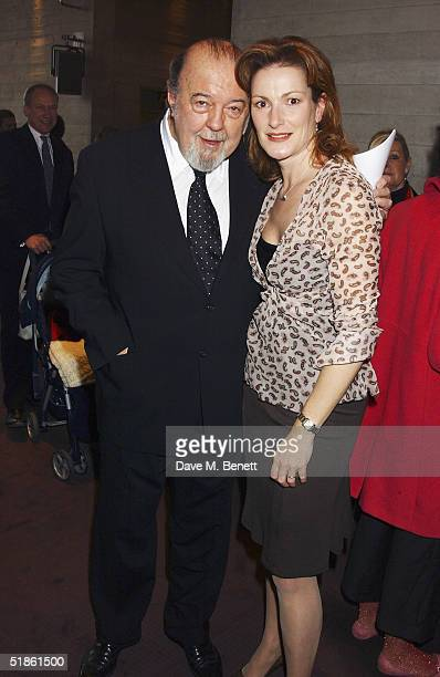 Director Sir Peter Hall and wife Nicola Frei attend the Evening Standard Theatre Awards at the National Theatre on December 13 2004 in LondonThe...