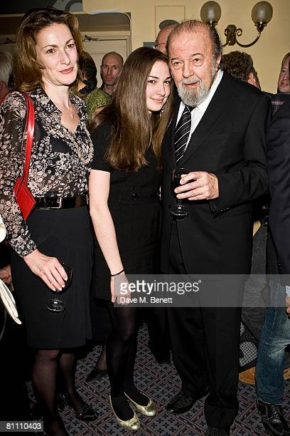 Director Sir Peter Hall poses with his wife Nicki Hall and their daughter Emma during the after party for the performance of 'Pygmalion' directed by...