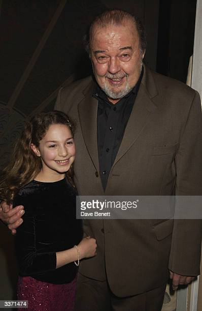 FEBRUARY 21 Director Sir Peter Hall with his daughter at the opening night party for 'Lady Windermere's Fan' held at the Trafalgar Hotel on 21st...