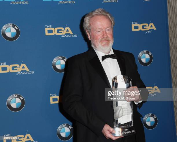 Director Sir Ridley Scott recipient of the Lifetime Achievement in Feature Film Direction Award poses in the press room during the 69th Annual...
