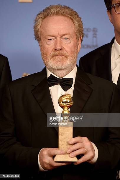 Director Sir Ridley Scott winner of Best Motion Picture Musical or Comedy for 'The Martian' poses in the press room during the 73rd Annual Golden...