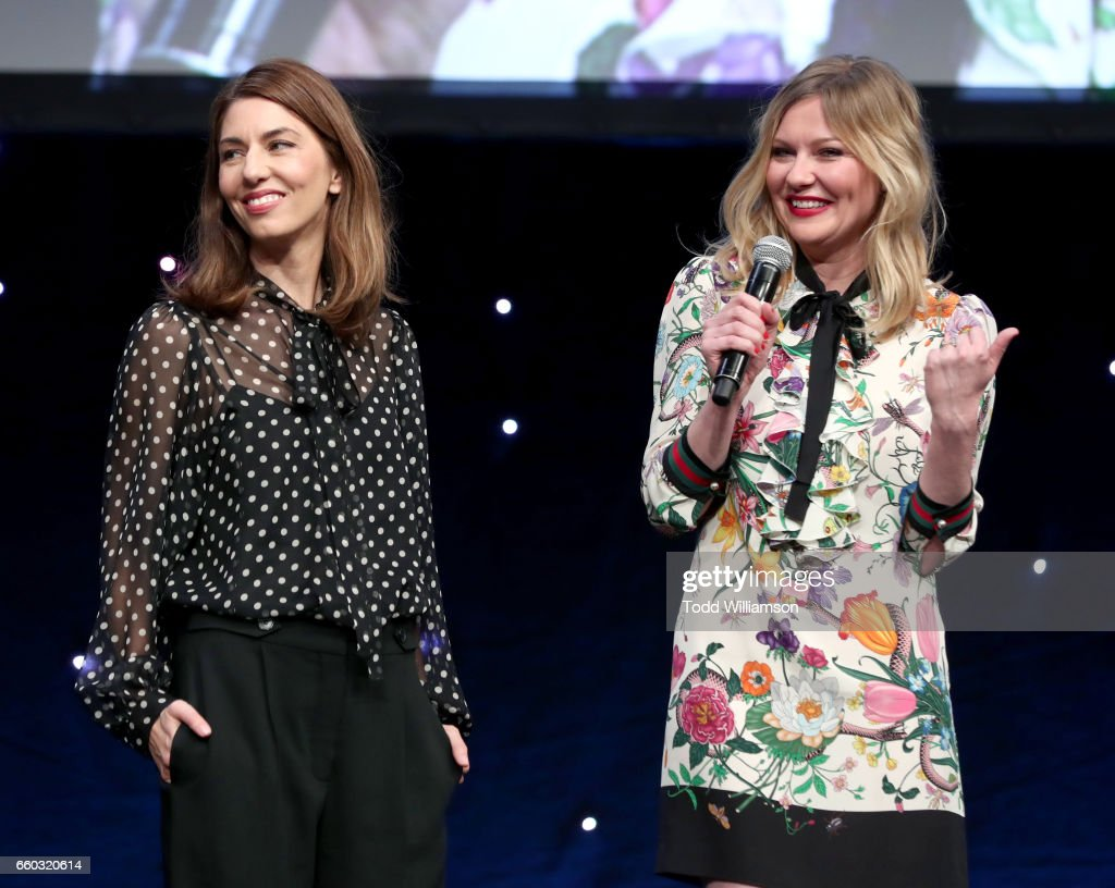 Director Sofia Coppola (L) and actor Kirsten Dunst speak onstage at CinemaCon 2017- Focus Features: Celebrating 15 Years and a Bright Future at Caesars Palace during CinemaCon, the official convention of the National Association of Theatre Owners, on March 29, 2017 in Las Vegas Nevada.