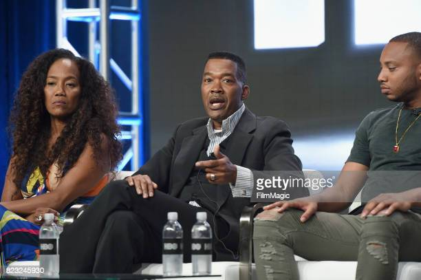 Director Sonja Sohn Baltimore Cheif of Police Melvin Russell and activist Kwame Rose speak onstage during the HBO Summer TCA 2017 at The Beverly...