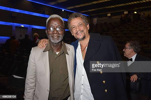 Director Souleymane Cisse and actor Abel JafriÊattend the 'Carthage Film Festival 2015' JCC Press Conference at Institut du Monde Arabe on November 6...