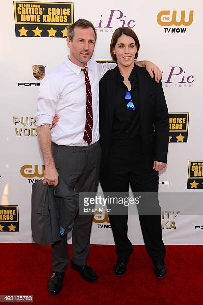 Director Spike Jonze and producer Megan Ellison attend the 19th Annual Critics' Choice Movie Awards at Barker Hangar on January 16 2014 in Santa...