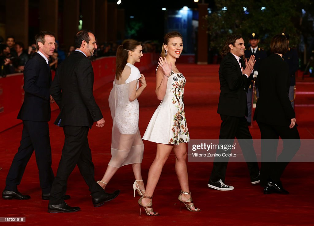 Director Spike Jonze, producer Vincent Landay, actors Rooney Mara, Scarlett Johansson, Joaquin Phoenix and producer Megan Ellison attend 'Her' Premiere during The 8th Rome Film Festival at Auditorium Parco Della Musica on November 10, 2013 in Rome, Italy.