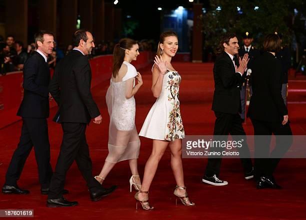 Director Spike Jonze producer Vincent Landay actors Rooney Mara Scarlett Johansson Joaquin Phoenix and producer Megan Ellison attend 'Her' Premiere...