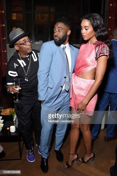 Director Spike Lee actor John David Washington and actress Laura Harrier attend the after party for the New York premiere of 'BlacKkKlansman' at the...