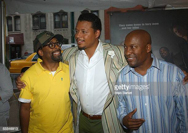 Director Spike Lee actor Terrence Howard and director John Singleton attend the premiere of Four Brothers at the Clearview Chelsea West Cinemas...