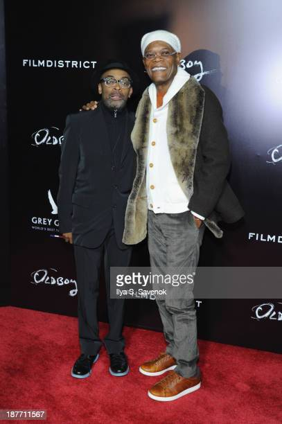 Director Spike Lee and actor Samuel L Jackson attend the screening of Oldboy hosted by FilmDistrict and Complex Media with the Cinema Society and...