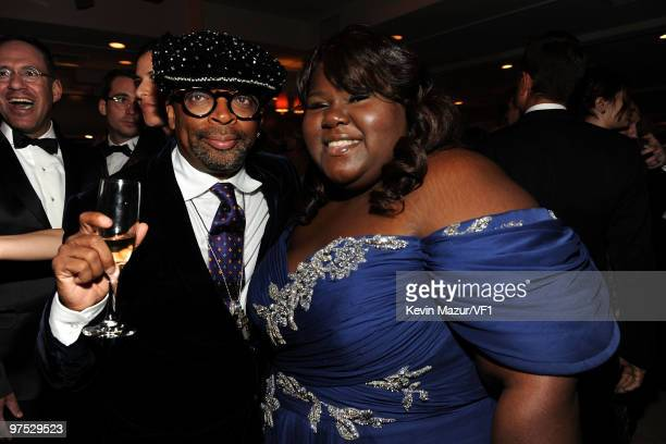 WEST HOLLYWOOD CA MARCH 07 *EXCLUSIVE* Director Spike Lee and actress Gabourey Sidibe attend the 2010 Vanity Fair Oscar Party hosted by Graydon...