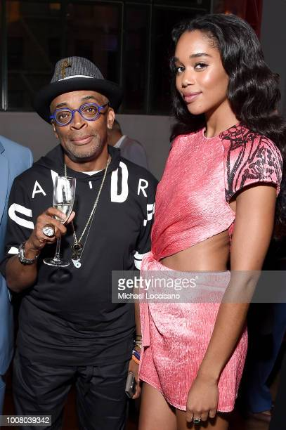 Director Spike Lee and actress Laura Harrier attend the after party for the New York premiere of 'BlacKkKlansman' at the BAM Lepercq Space on July 30...