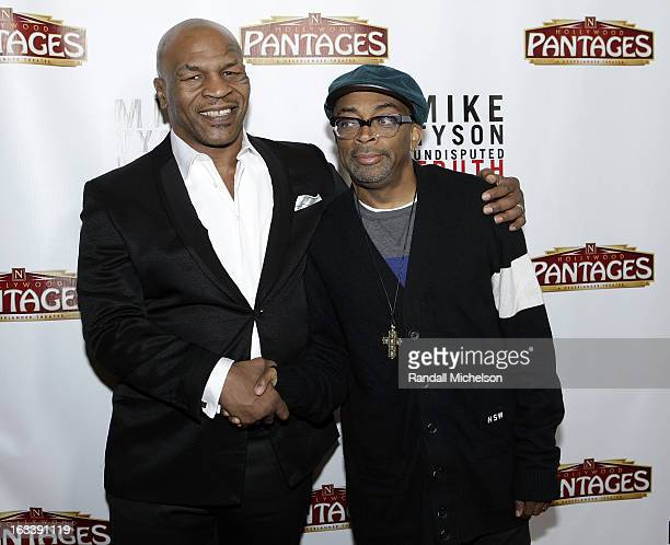 Director Spike Lee and Boxer Mike Tyson attend the Los Angeles Premiere of Mike Tyson Undisputed Truth at the Pantages Theatre on March 8 2013 in...