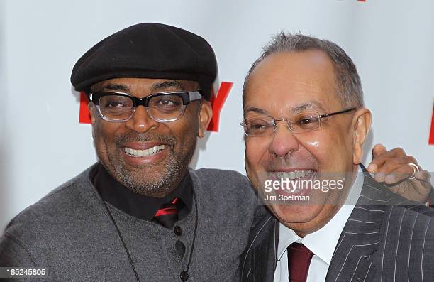 Director Spike Lee and George C Wolfe attend the Lucky Guy Broadway Opening Night Arrivals Curtain Call at The Broadhurst Theatre on April 1 2013 in...