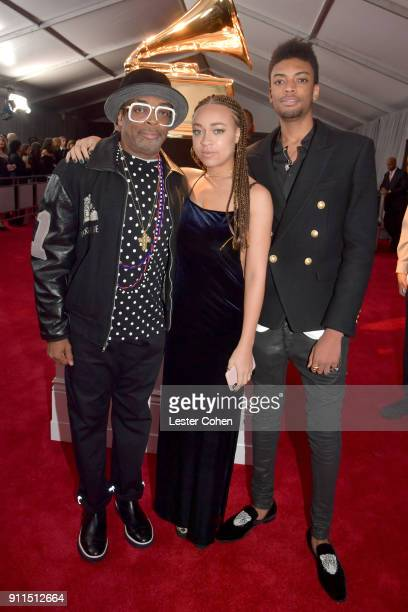 Director Spike Lee and his children Satchel Lee and Jackson Lee attend the 60th Annual GRAMMY Awards at Madison Square Garden on January 28 2018 in...