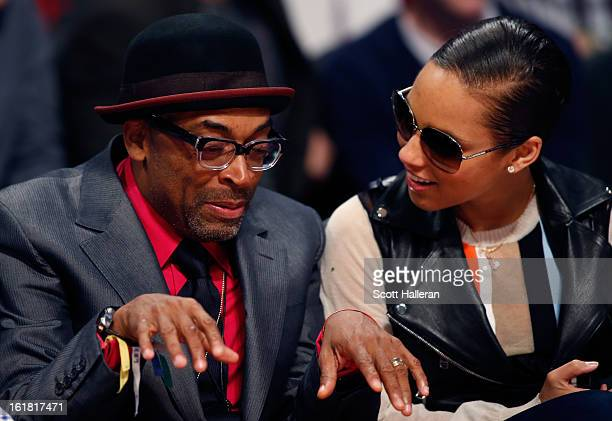 Director Spike Lee and singer Alicia Keys talk during the Taco Bell Skills Challenge part of 2013 NBA AllStar Weekend at the Toyota Center on...
