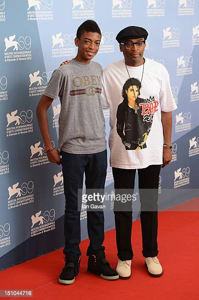 Director Spike Lee and son Jackson Lee attend the Bad 25 And JLC Glory To The Filmmaker 2012 Award photocall at the Palazzo del Casino on August 31...