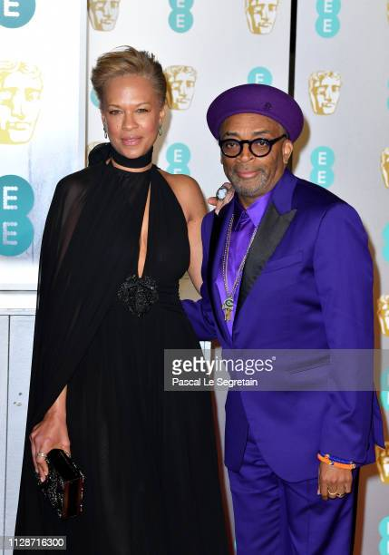 Director Spike Lee and Tonya Lewis Lee attend the EE British Academy Film Awards at Royal Albert Hall on February 10 2019 in London England